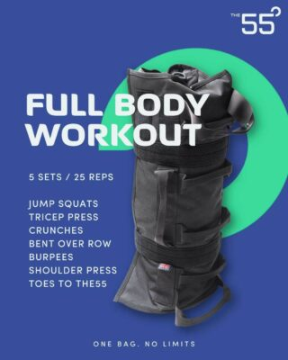 """[FULL BODY WORKOUT]  """"push your limits""""  THE WORKOUT _______________  5 SETS / 25 REPS  JUMP SQUATS TRICEP PRESS CRUNCHES BENT OVER ROW BURPEES SHOULDER PRESS TOES TO THE55  REMEMBER: choose your weight accordingly & drop weight throughout if you need it.   GET COMPETITIVE, tag a mate and challenge yourself! . . . The55 is #onebagnolimits   ______  LINK IN BIO . . . . #fitnessmotivation #sandbagfitness #sandbag101 #trainanywhere #tacitcaltraining #strengthandconditioning #fitnessequipment #homeworkout #shoulderstrength #homegymsetup #sandbags #sandbagtraining #sandbagworkout #sandbagcarry #bruteforcesandbags #ultimatesandbag #sandbaggers #sandbagfitness #sandbagsquats #sandbagcleans #sandbagwod #sandbagworkouts #trunksandbags #sandbagrun #ultimatesandbagtraining #sandbagstrength #veteranowned #veteranownedbusiness #nogymrequired"""